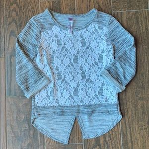 BEAUTEES Girls Gray and Lace Sparkly Sweater